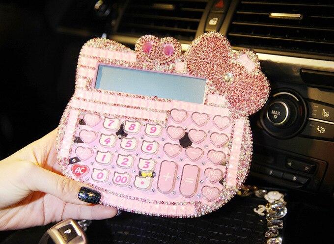 2016 New 12 digit pink cute hello kitty font b calculator b font wholesale 17 18CM