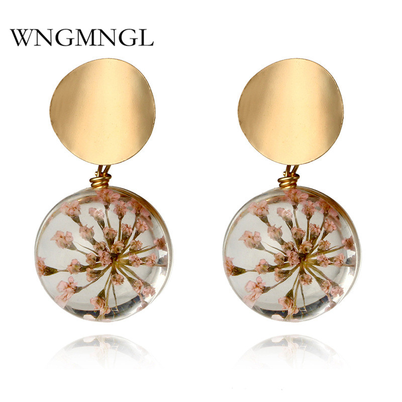WNGMNGL 2018 Handmade Korean Earrings New Design Glass Dried Flower Bohemia Statement Drop Earring For Women Fashion Ear Jewelry