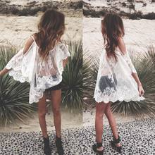Vestidos 2017 Summer Dress Women O-Neck Sexy Strap Sheer Floral Lace Embroidered Crochet Hippie Mini Beach Dress
