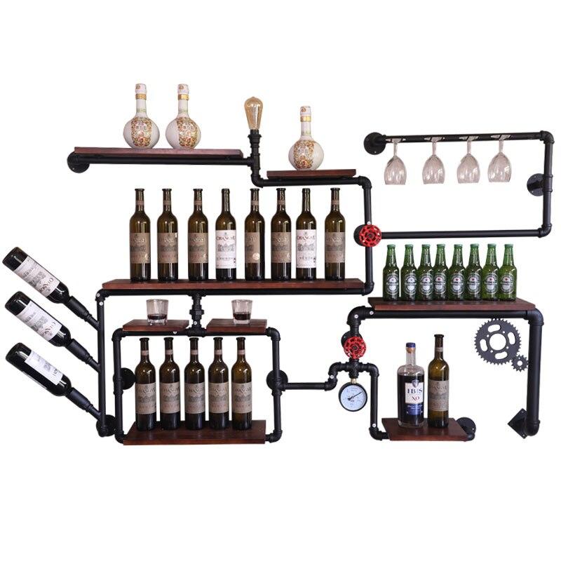 Industrial Vintage Wooden Pipe Bar Cafe Bar Restaurant Wall Mounted Liquor Cabinet Wine Glass Rack Black