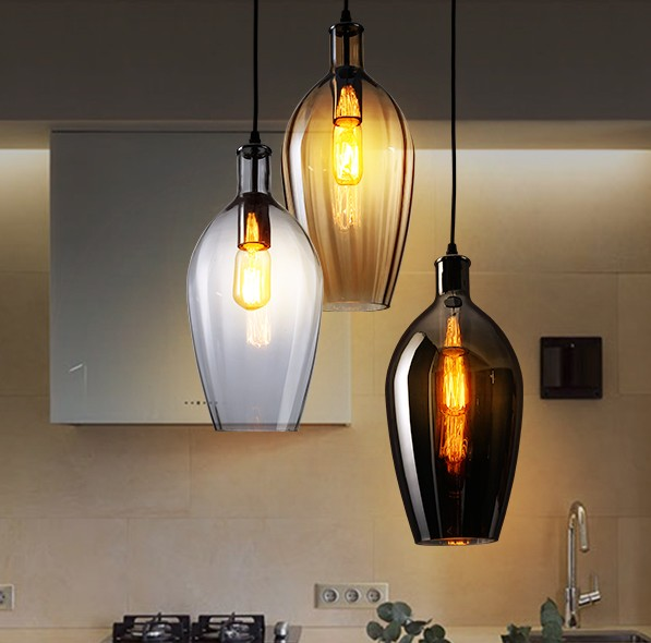 Nordic Loft Style Creative Glass Droplight Edison Vintage Pendant Light Fixtures Dining Room Hanging Lamp Home Indoor Lighting