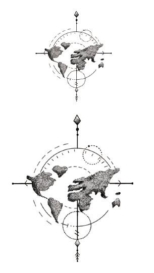 Compus design kubreforic waterproof temporary fake tattoo stickers vintage grey world map gumiabroncs Gallery
