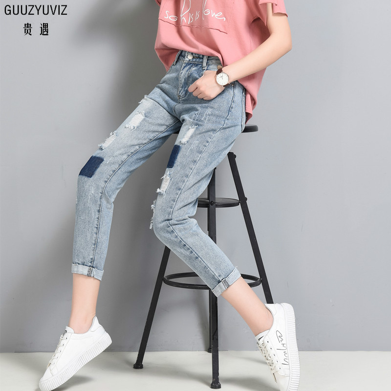 Bottoms Guuzyuviz Autumn Winter Plus Size Jeans Woman Vintage Casual Print Hole Ripped Washed Cotton Denim High Wasit Pants Mujer Great Varieties