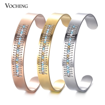 10pcs/lot Stainless Steel Bangle Seed Bead Open Bangle Bracelet Bohemian Women Jewelry 3 Colors M-017*10
