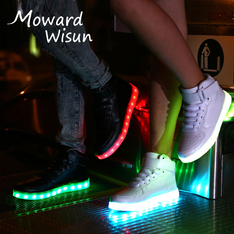 Size 27-42 Charge USB Luminous Sneakers Baskets Led Shoes with Light Up Sole Boys Girls Glowing Kids Enfant LED Slippers