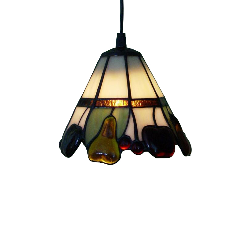 Stained Glass Lampshade Small Led Hang Pendant Lamp Light Cord Hotel Staircase Hallway Restaurant Coffe Bar Counter Lighting