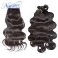 New star onda do corpo do cabelo brasileiro virgem do cabelo com fechamento brasileira 3 tece bundles com 1 parte livre fechamento rendas onda do corpo