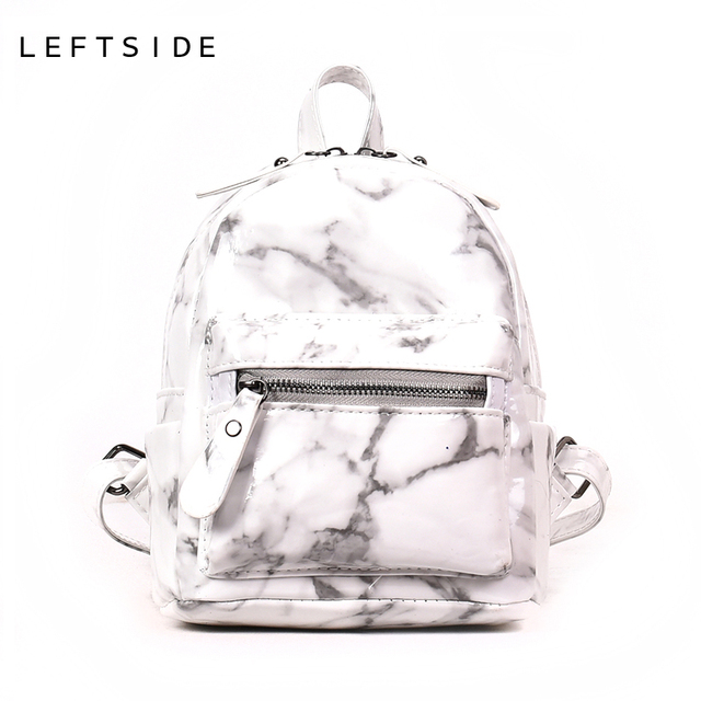 a839053cbc LEFTSIDE Marble Pattern Women Small Backpack PU Leather Backpacks For  Teenage Girls Black White 2018 Female
