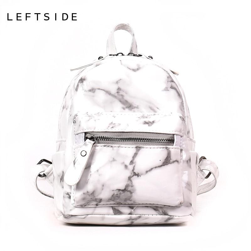 LEFTSIDE Marble Pattern Women Small Backpack PU Leather Backpacks For Teenage Girls Black White 2018 Female Cute Back Pack New
