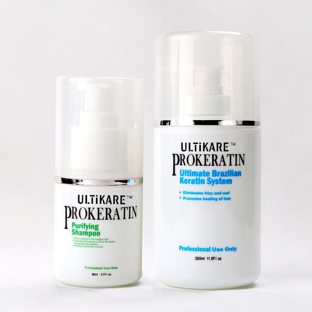 Barato 2 unids/set champú purificante y 350 ML tratamiento de queratina Brasileña enderezar producto de pelo y alisar el cabello