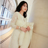 KENVY High-end luxury brand women's fashion lace embroidery long-sleeved pearl diamond star dress