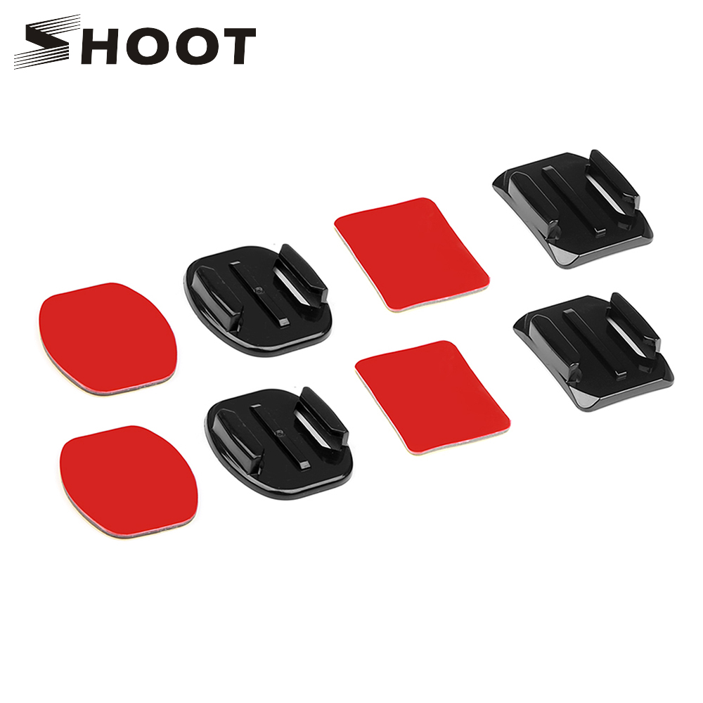 SHOOT Flat And Curved Surface Base Mount With Double Side Sticker For GoPro Hero 7 6 5 4 SJCAM SJ4000 Xiaomi Yi 4K Accessory Set