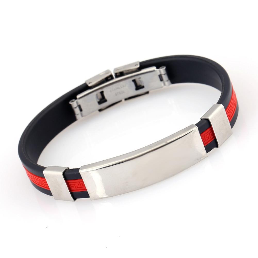 Fashion Silicone Wristband Bracelet Men Adjustable Bangle Jewelry Birthday Gift