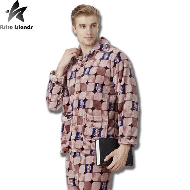 2017 Nova Marca Dos Homens de Flanela Pijamas de Inverno Espessamento Mantenha Quente Mink Cashmere Plus Size Roupa Em Casa 8 Cores Avaliable MT302
