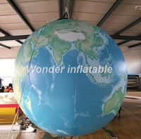 Free shipping hot sale 2m LED lighting giant inflatable earth globe ball planet balloon for decoration
