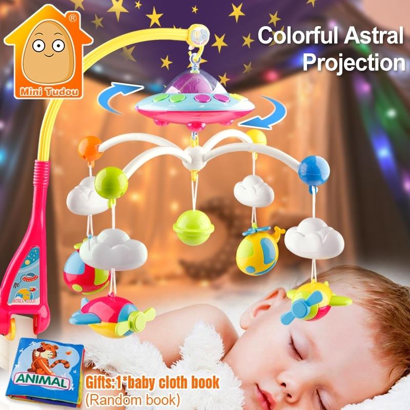 MiniTudou Дитячі ліжка Белл Музична ліжечка Мобільний тримач обертових кронштейнів Дитячі іграшки 0-12 місяців