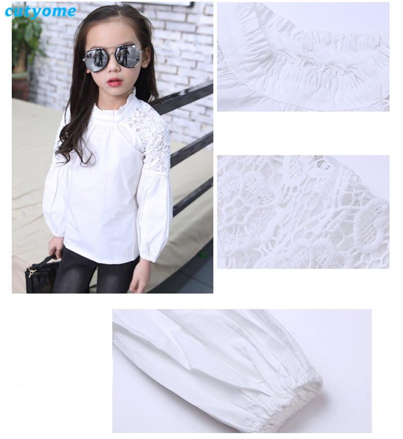 Biały Puff Rękaw Bluzki dla dziewczynek Cutyome Długi rękaw - Ubrania dziecięce - Zdjęcie 4