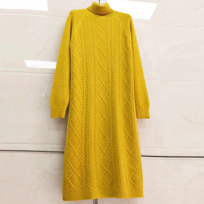 Autumn Winter Long Knitted Sweater Women Turtleneck Pullover Plus size Loose Thick Warm Knitwear Jumper Fashion  Women Sweater