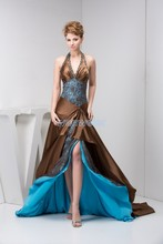 free shipping 2014 new arrival hot seller floor-Length open leg smal train custom size/color long halter beading prom dresses