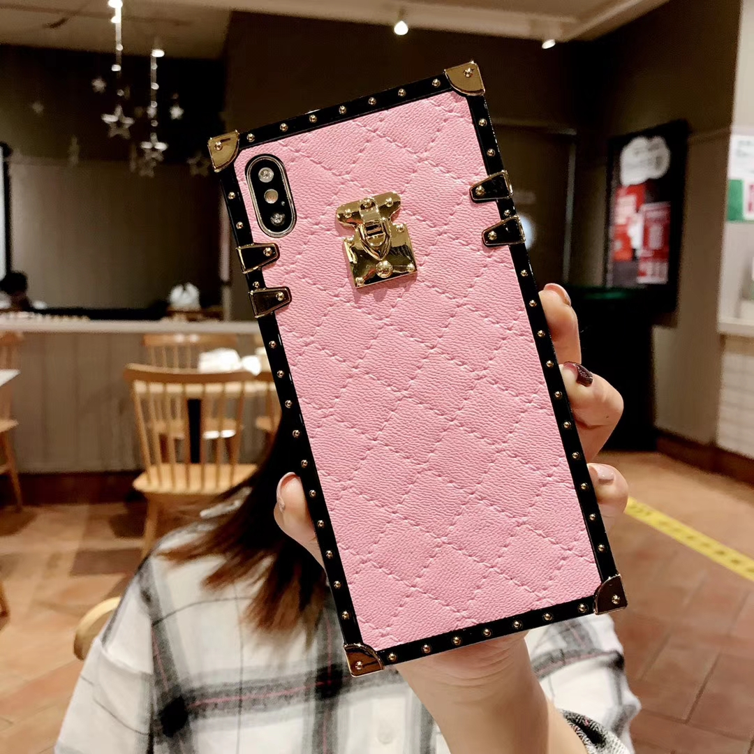 HTB1E9kLX5nrK1Rjy1Xcq6yeDVXas Soft Lambskin PU Leather Cases For iPhone 11 Pro X XR XS Max 8 7 Plus Square Plaid Cover For Samsung Galaxy S9 S10 Plus Note 10