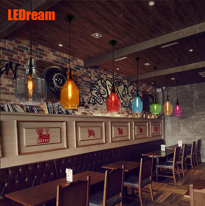 LOft cafe cafe personality contracted chandelier lamps and lanterns of American restaurant coffee crystal chandeliers contemporary and contracted creative personality retro art glass chandelier cafe restaurant study lamps act the role of milan
