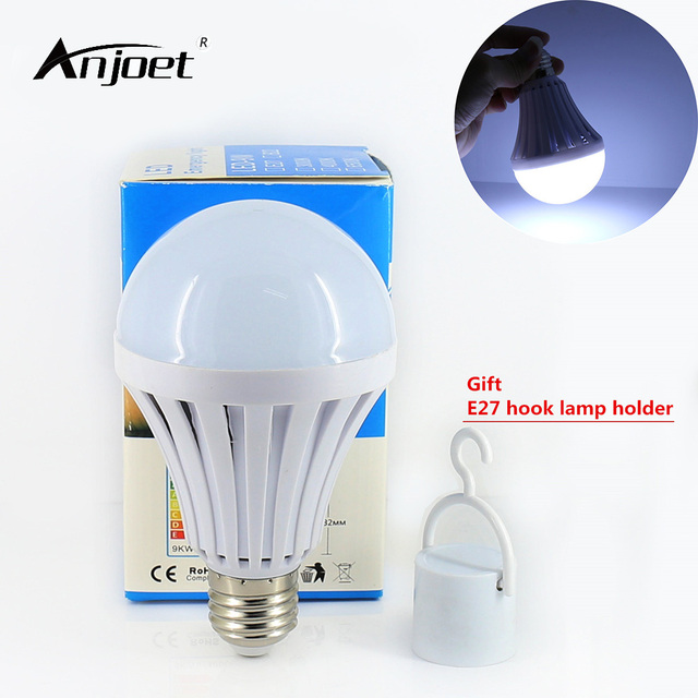 Anjoet 110v 220v Led Smart Bulb E27 5w 7w 9w 12w Emergency Light Rechargeable Battery