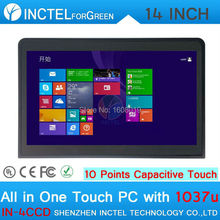 8G RAM 32G SSD 500G HDD 14″ All In One PC Touch Screen Industrial Embedded Computer with Intel Celeron 1037u 1.8Ghz CPU