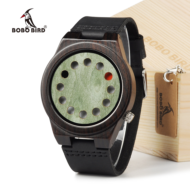 BOBO BIRD 2016 Unique Wood Watch 12 Wholes Real Leather Band Bamboo Wooden Quartz Watch for Men In Gift Box bobo bird brand new wood sunglasses with wood box polarized for men and women beech wooden sun glasses cool oculos 2017