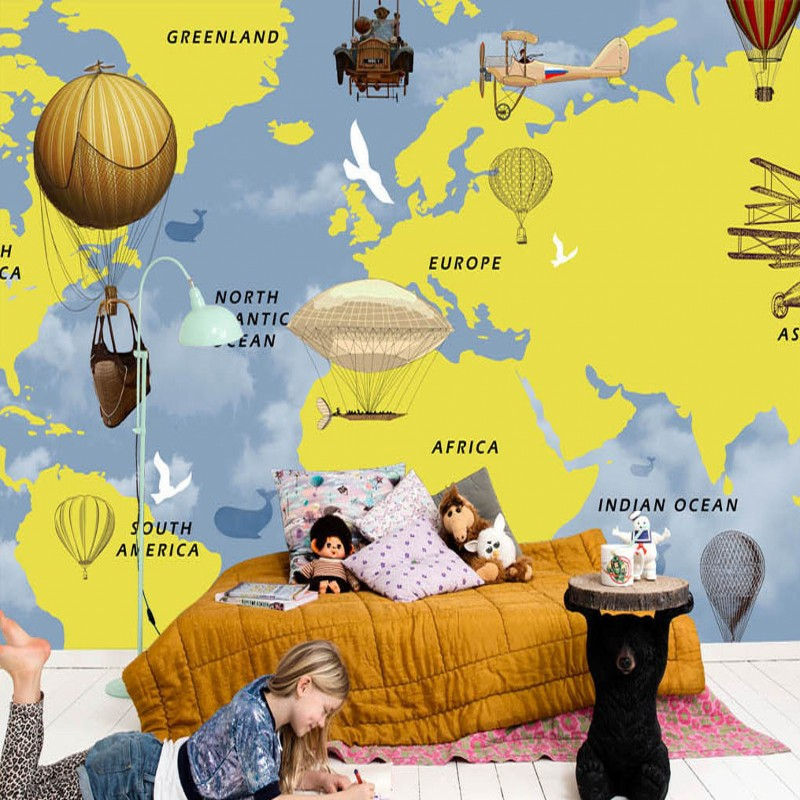 Custom 3d mural Hand painted world map hot air balloon children room bar background wall mural living room wallpaper 3d wall paper mural with any size hand painted balloon lovely cartoon bedroom 3d mural wallpapers for children non woven mural
