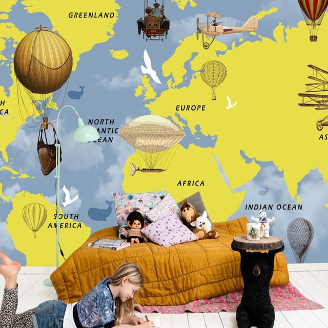 Custom 3d mural hand painted world map hot air balloon children room custom 3d mural hand painted world map hot air balloon children room bar background wall mural gumiabroncs Images