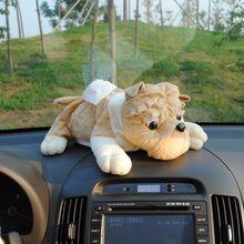 Caja de papel de seda de montaje de coche, bolsa de servilleta creativa de dibujos animados, adorable cachorro de felpa, accesorios de coche, decoraciones interiores, caja de papel lavable