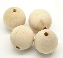 Doreen Box 20PCs Natural Ball Wood Spacer Round Beads For DIY Jewelry Making Dia: Approx 30mm(1-1/8
