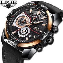 Relogio Masculino 2019 LIGE Mens Watches Top Brand Luxury Casual Leather Quartz Watch Male Waterproof Sports Chronograph Relogio цена 2017