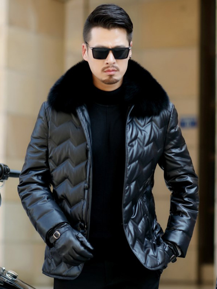Jaqueta Couro Sale Men Engine Leather Parka Winter Down Jacket 2018 New Middle-aged Sheep Coats Large Size Outerwear Male No520
