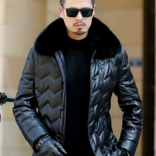 Jaqueta Couro Sale Men Engine Leather Parka Winter Down Jacket 2018 New Middle-a