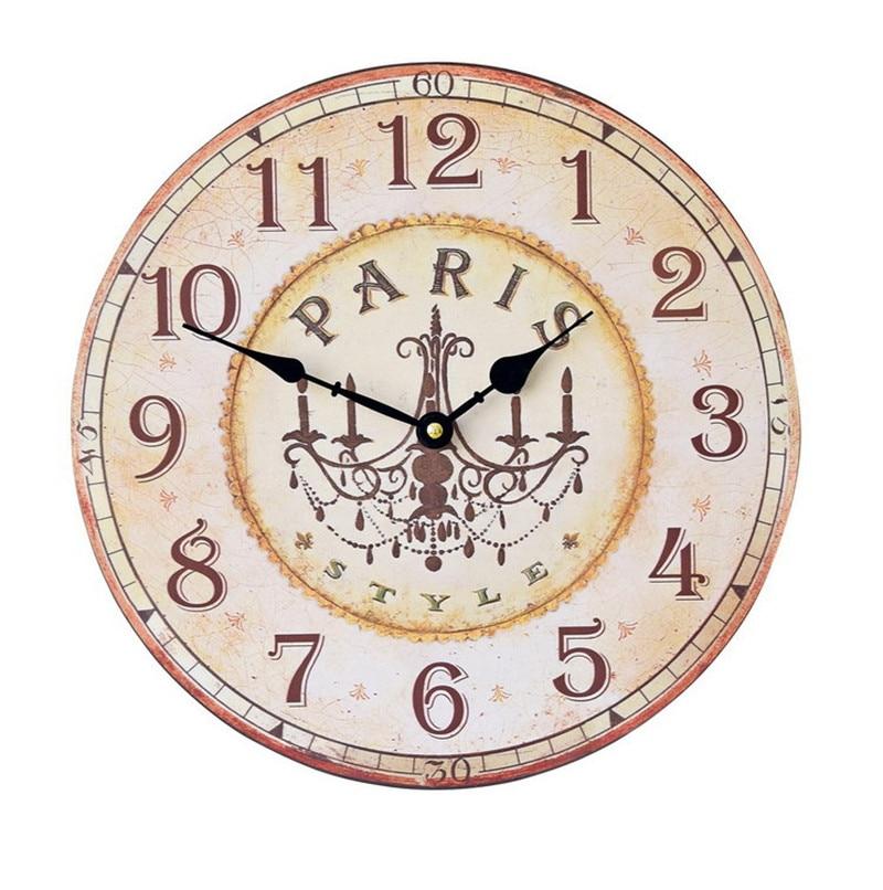 Retro Nostalgic American Art Wall Clock 34CM Solid Wood Frame Silent Time  DIY Craft Creative Kitchen Living Room Clocks