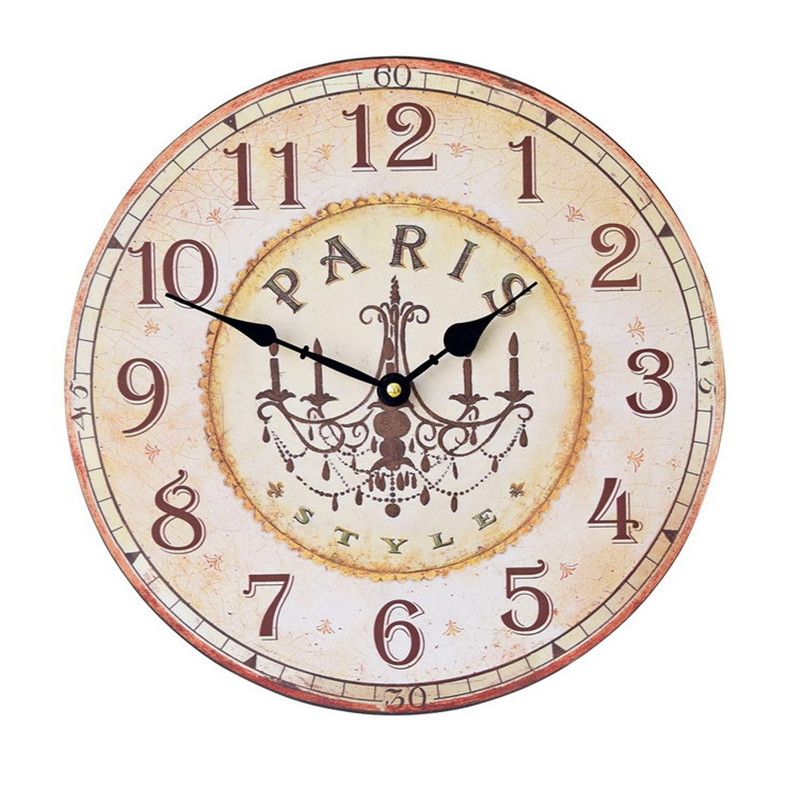 retro nostalgic american art wall clock 34cm solid wood frame silent time diy craft creative kitchen