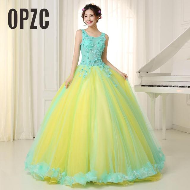 Organza colored wedding dress 2017 new korean style double shoulder organza colored wedding dress 2017 new korean style double shoulder blue yellow princess bride boat gowns junglespirit Images