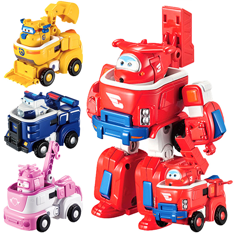 MINI SIZE 12cm*11cm Super Wings ABS Planes Deformation Airplane Robot JETT Action Figures Toys for Christmas Gifts Free Shipping