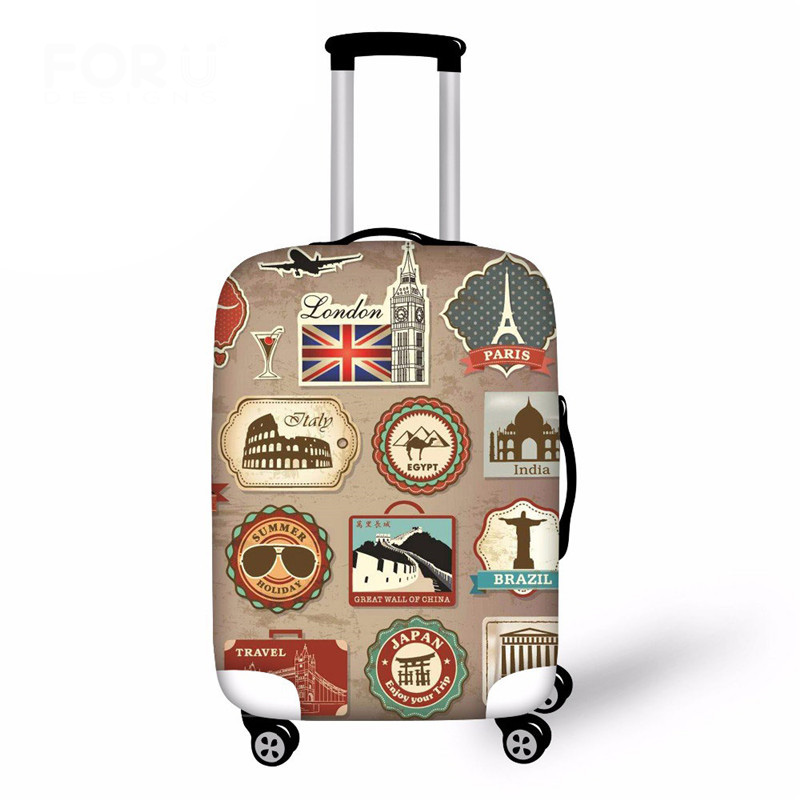 Vintage Elastic Thick Luggage Cover For Trunk Case Travel On Road Suitcase Dustproof Protector Cover Dropship Custom