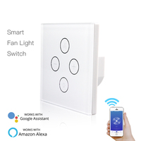 EU/US WiFi Smart Ceiling Fan Light Wall control Switch phone Time Voice Speed Smart Life Tuya APP Remote with Alexa Google Home
