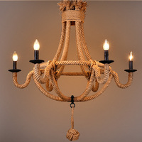 American Countryside Retro Loft Hemp Rope Chandelier 3 heads Indoor Lighting Pendant Lamp Dining Room Chandelier E14 WPL180