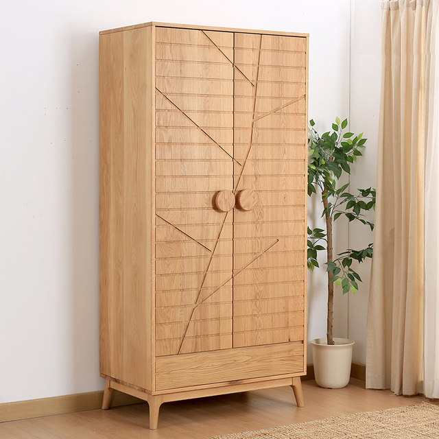 wild oak w921 double door wardrobe closet white oak solid wood modern minimalist scandinavian design original - White Wardrobe