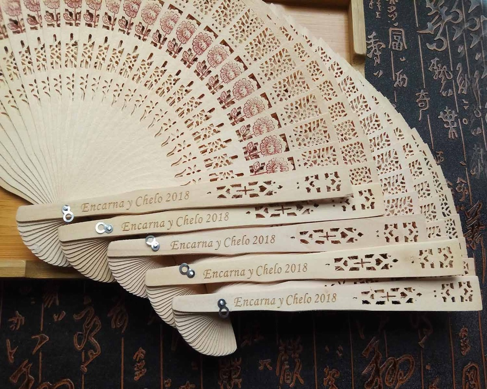 US $92 7 10% OFF|100pcs/lot fragrance wood fan Chinese style wedding fan  with bride & groom's name & wedding date personalized-in Party Favors from