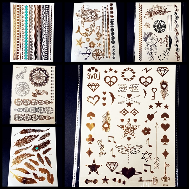 25 Style Mandala Gold Flash Metallic Temporary Tattoo Stickers Women 15x20CM Large Body Art Arm Fake Waterproof Tattoo Feather
