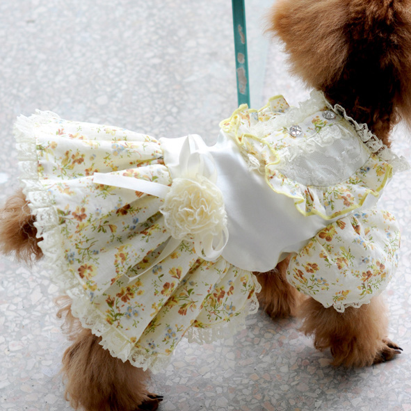 dreambows Floral Lace Handmade Flowers Dog Dress 6071015 Pet Dogs Princess  Dress XS / S / M / L