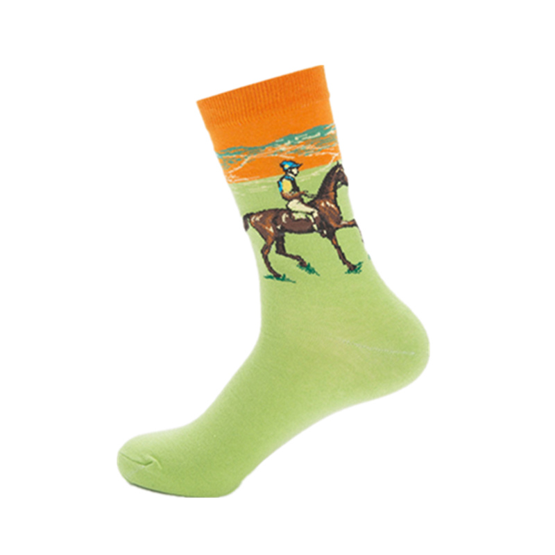 Mens casual combed cotton happy socks man oil paintings series knight funny socks colourful breathable long art sock