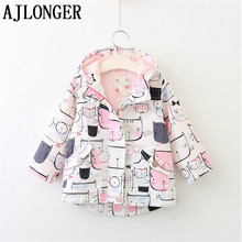 лучшая цена AJLONGER Girls Trench Coat Spring Flower Girls Cartoon Jacket For Girls Windbreaker For Kids Outerwear Coat Children Clothes