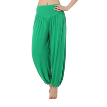 SZ-LGFM-High Waist Stretch Yoga Pants Flare Wide Leg Bloomers-Fruit Green,S