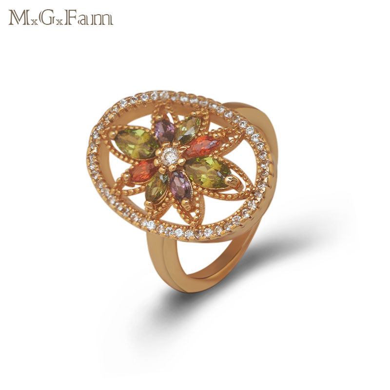 M.G.Fam18 Yellow Gold-color Noble Ring Jewelry Women with Sunshine Multicolor Zircon Stone